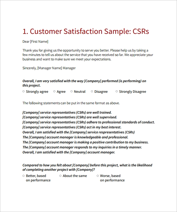 cover letter for questionnaire surveys - 9 customer satisfaction survey template sample templates