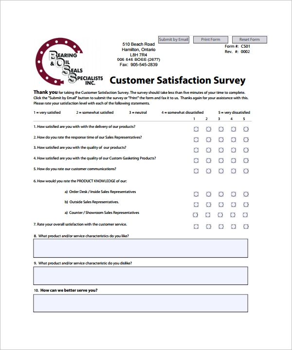Sample Customer Satisfaction Survey Template   Free Documents