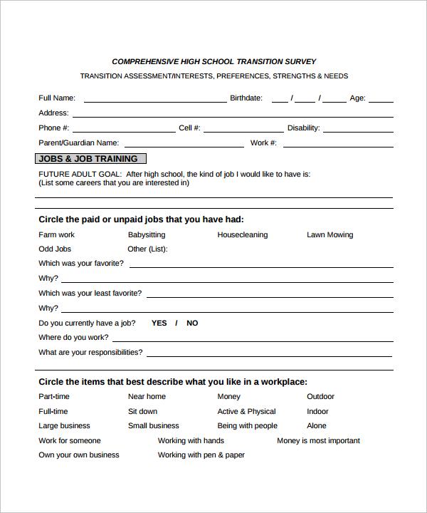 comprehensive high school transition survey