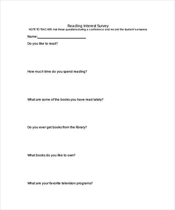 Sample Blank Survey Template   Free Documents In Word Pdf