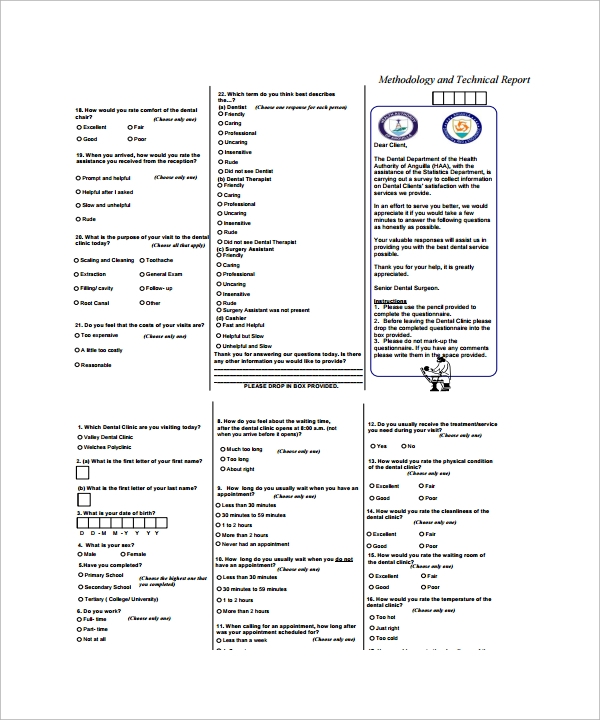 Sample Patient Survey Template 5 Free Documents In Word Pdf