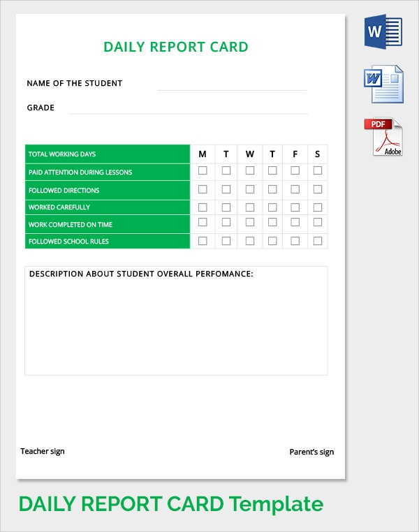 Daily Report Card Template  Daily Report Templates