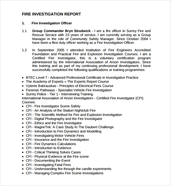 14 investigation report templates sample templates for Fire department incident report template