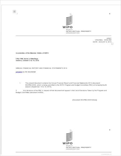 annual financial report template doc