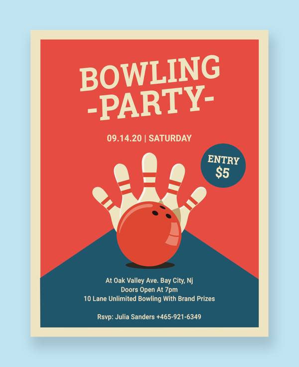 bowling party flyer template