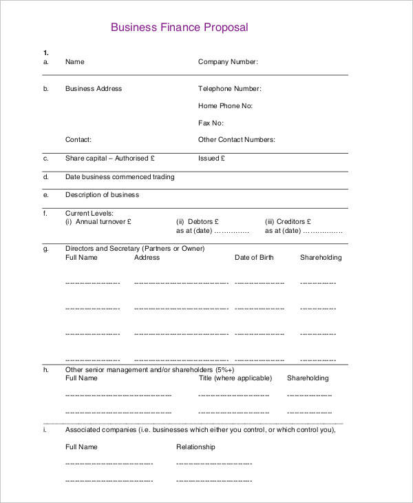 business financial proposal template
