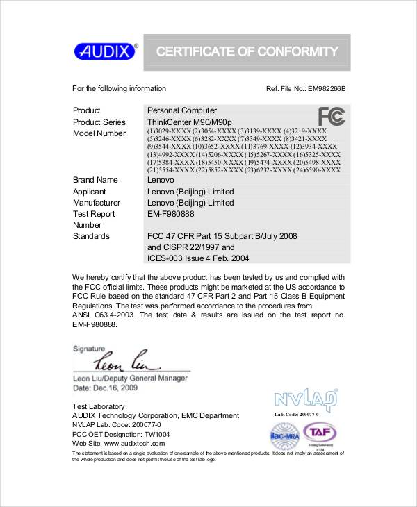 Sample Conformity Certificate Template   Free Documents In Pdf Word