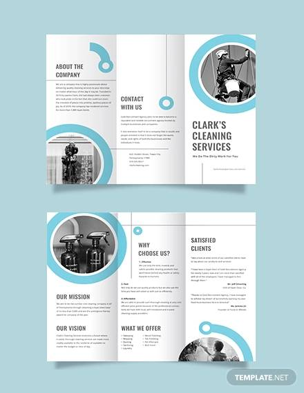 cleaning company tri fold brochure template