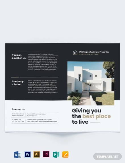 commercial realtor bi fold brochure template