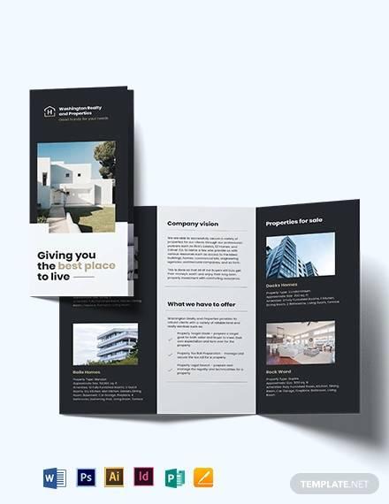 commercial realtor tri fold brochure template