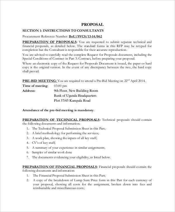 consultancy financial proposal template