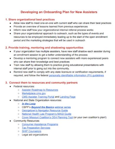 development onboarding plan
