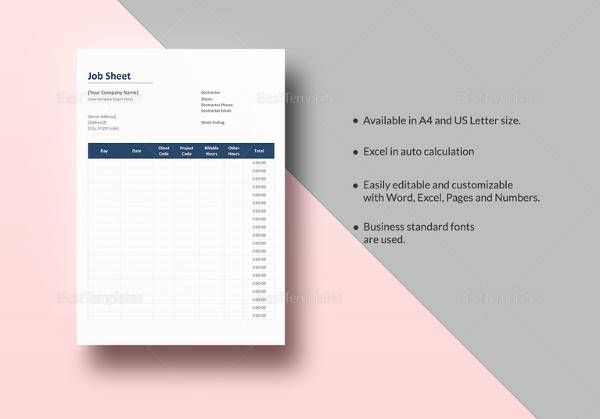 easy to print job sheet template
