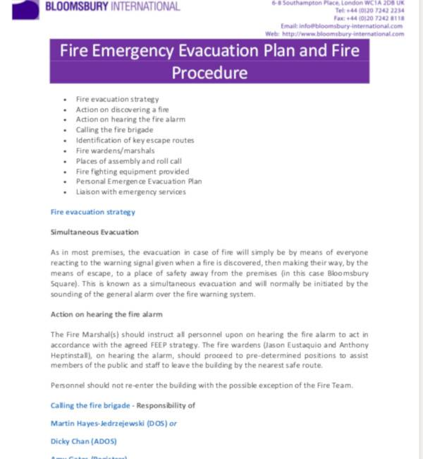 fire emergency evacuation plan
