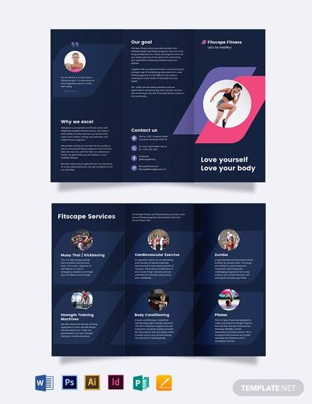 fitness center tri fold brochure template
