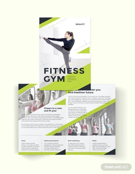 fitness gym bi fold brochure template