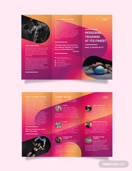 fitness trainer tri fold brochure template