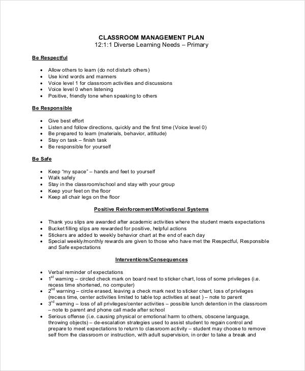 free classroom management plan template