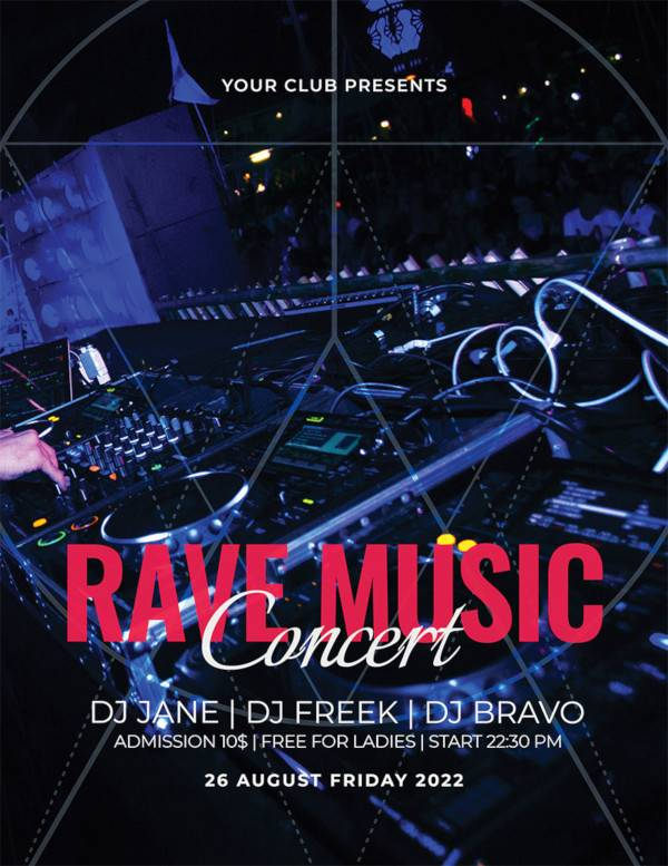 free rave music concert flyer template