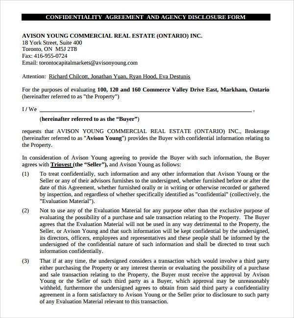 free real estate confidentiality agreement