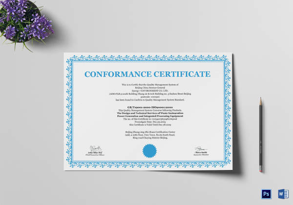 Sample Conformity Certificate Template 13 Free Documents In Pdf Word