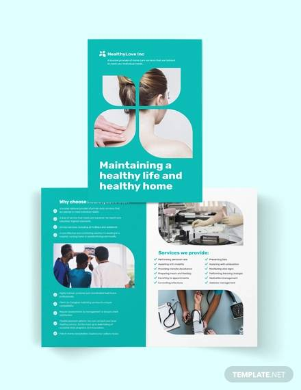 home healthcare bi fold brochure template