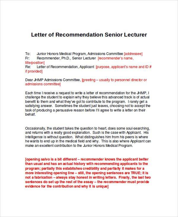 Letter Of Recommendation Senior Lecturer  Letter Of Recommendation Word Template