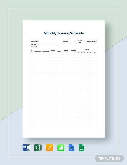 monthly training schedule template1