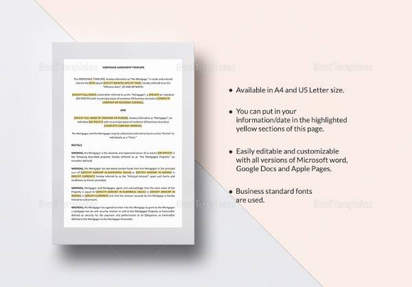 mortgage agreement template1