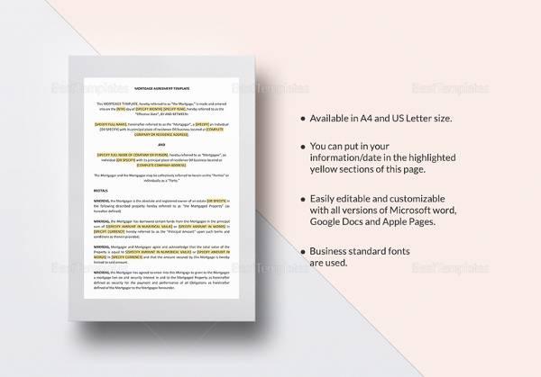 Sample mortgage agreement template 10 free documents in pdf word mortgage agreement template in word platinumwayz