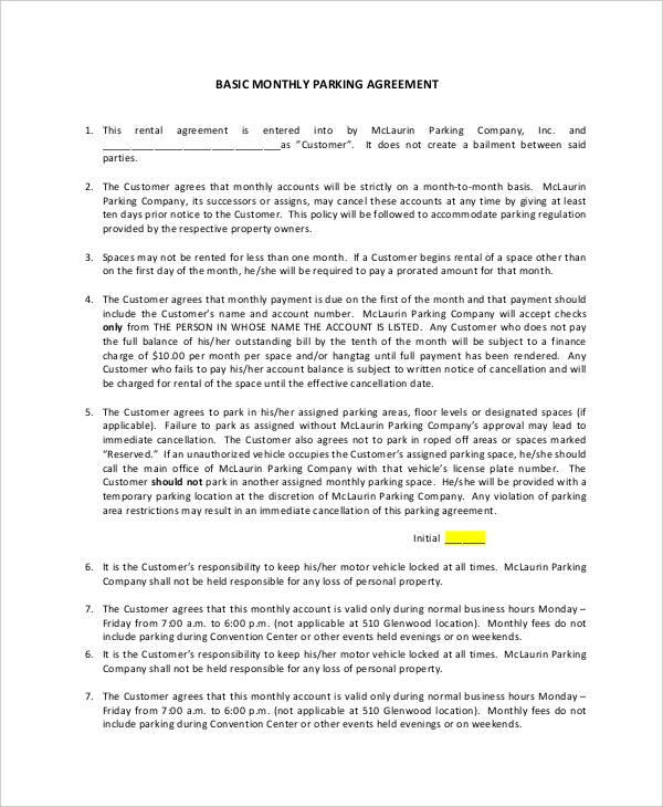 11 Parking Agreement Templates Sample Templates