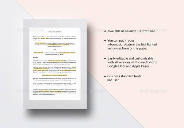 Sample Parking Agreement Template   Free Documents In Pdf Word