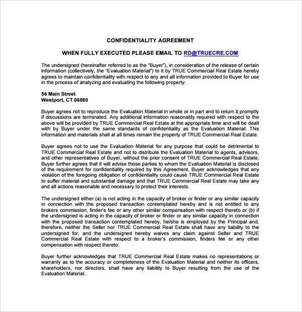 printable real estate confidentiality agreement