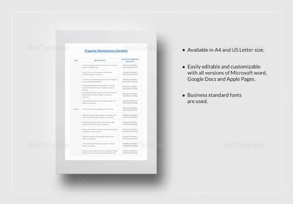property maintenance checklist template