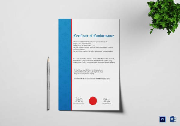 Quality Conformance Certificate Template In Word Format