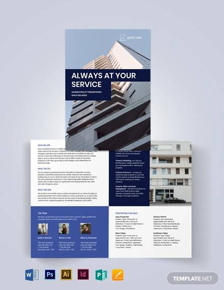 real estate company promotional bi fold brochure template
