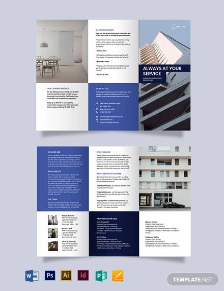 realestate company promotional tri fold brochure template