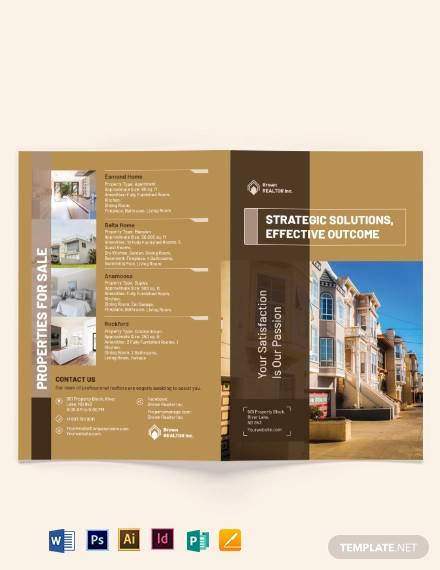 realtor self promotion bi fold brochure template