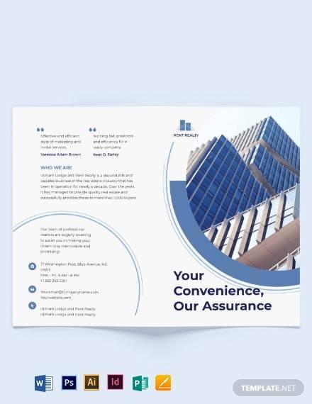 rental property realtor bi fold brochure template