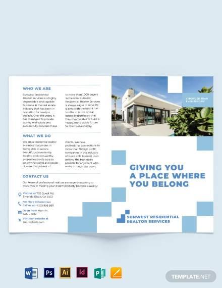 residential realtor bi fold brochure template