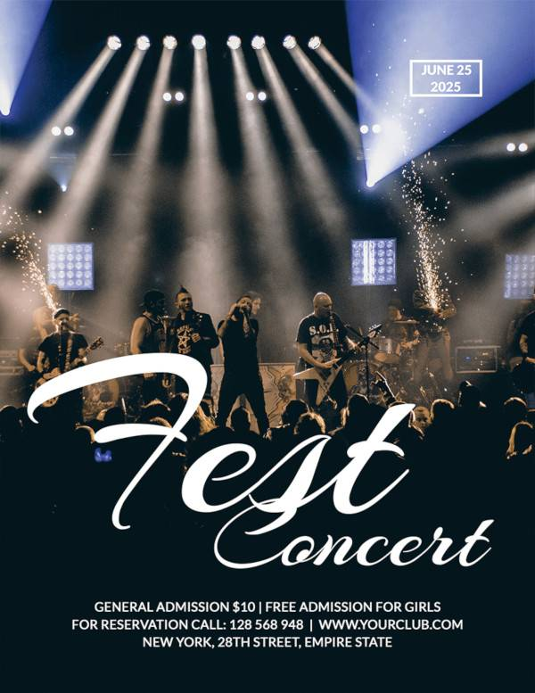 rock concert fest flyer template