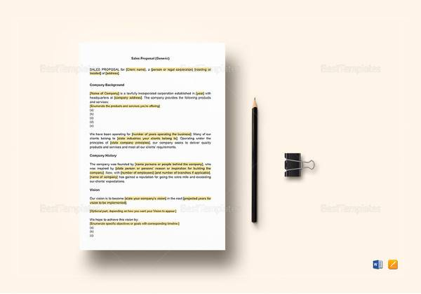 sales proposal word template