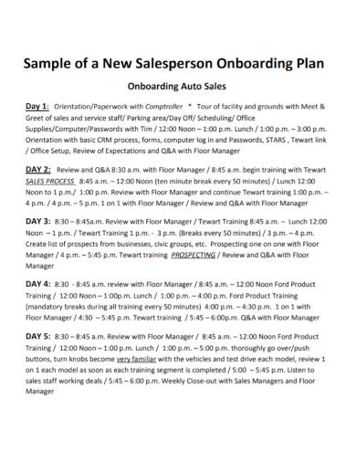 salesperson onboarding plan