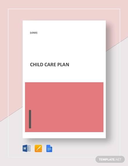 sample child care plan