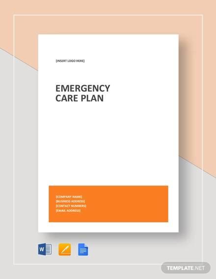 sample emergency care plan template