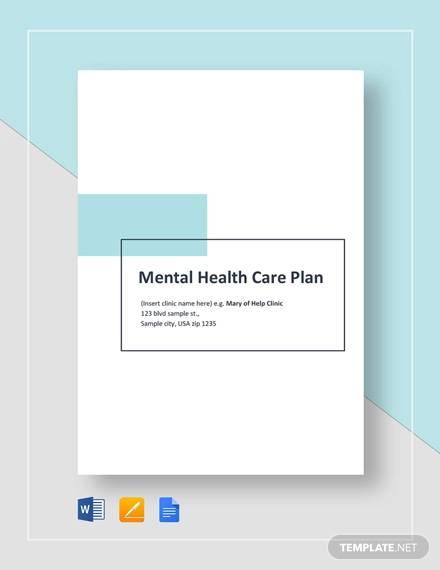 sample mental health care plan template