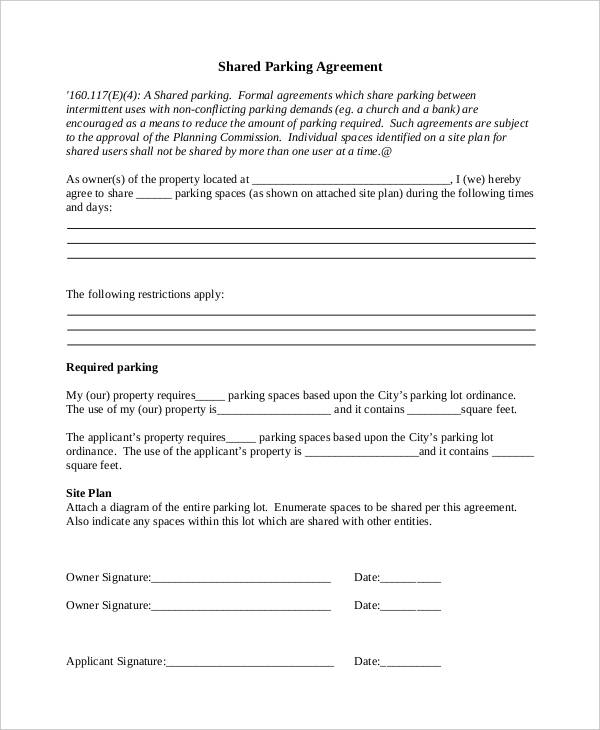 shared parking agreement template