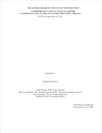 simple annual financial report template
