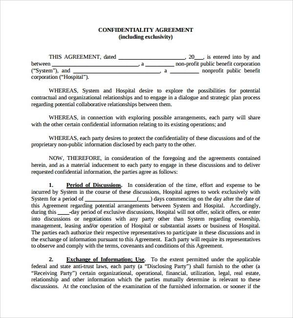 simple real estate confidentiality agreement