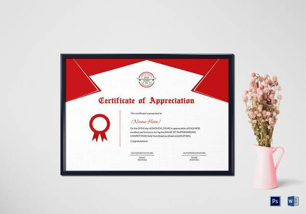 sample performance certificate template